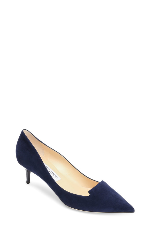 Jimmy Choo Allure Navy Blue Suede Notched Pump, 50mm