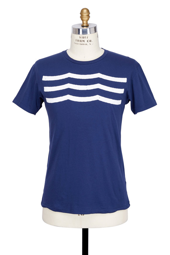 Sol Angeles Navy Blue Waves Crewneck T-Shirt