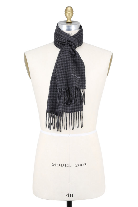 Hickey Freeman Gray Gingham Cashmere Scarf