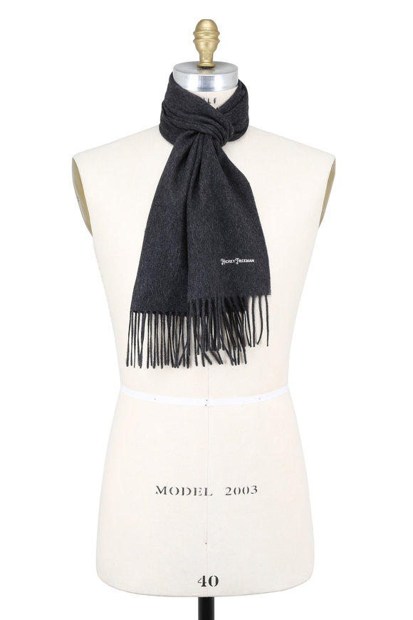 Hickey Freeman Solid Charcoal Gray Cashmere Scarf