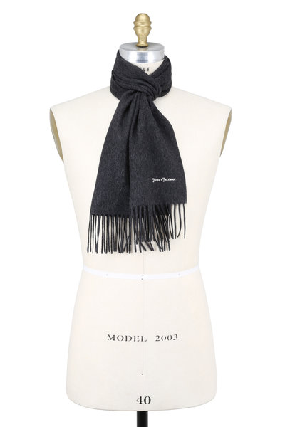Hickey Freeman - Solid Charcoal Gray Cashmere Scarf