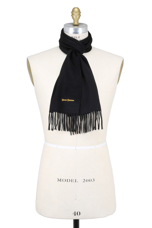 Hickey Freeman Solid Black Cashmere Scarf