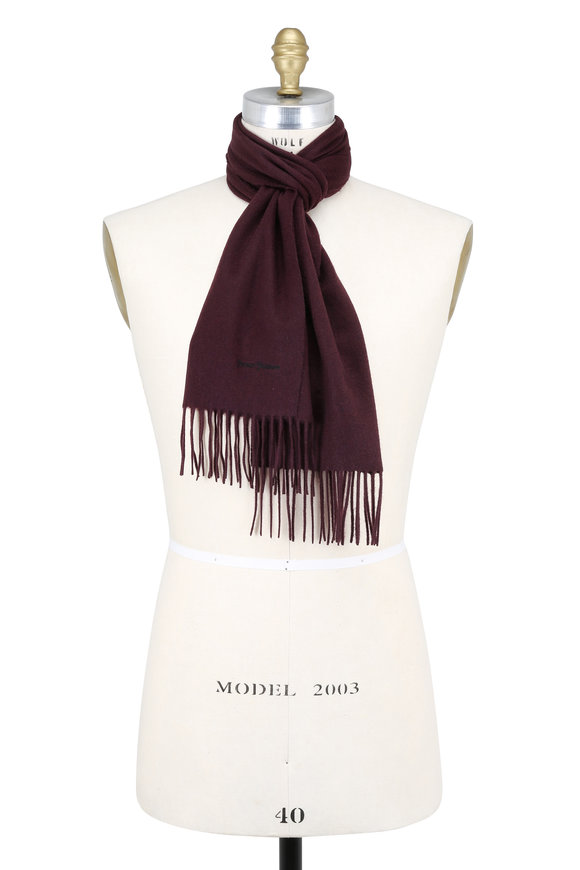 Hickey Freeman Solid Burgundy Cashmere Scarf