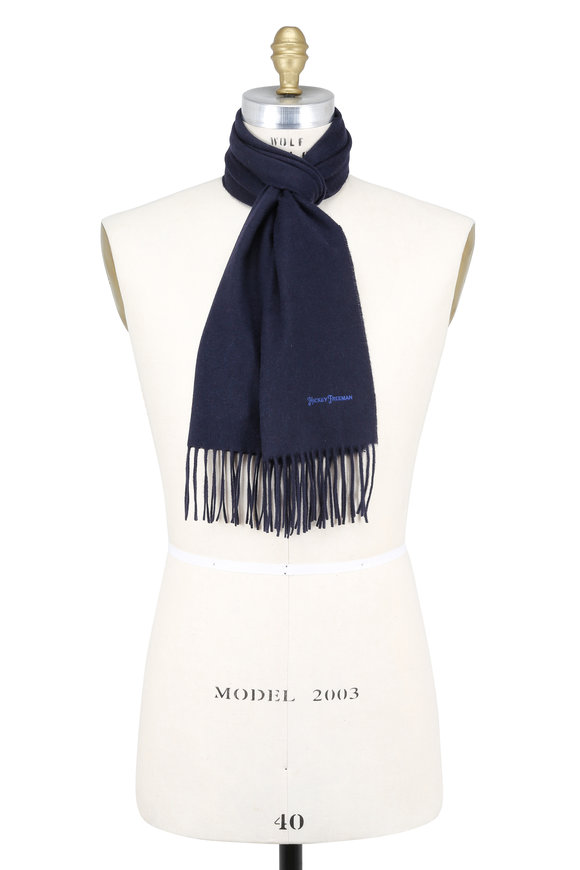 Hickey Freeman Solid Navy Blue Cashmere Scarf