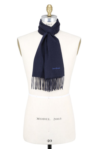 Hickey Freeman - Solid Navy Blue Cashmere Scarf