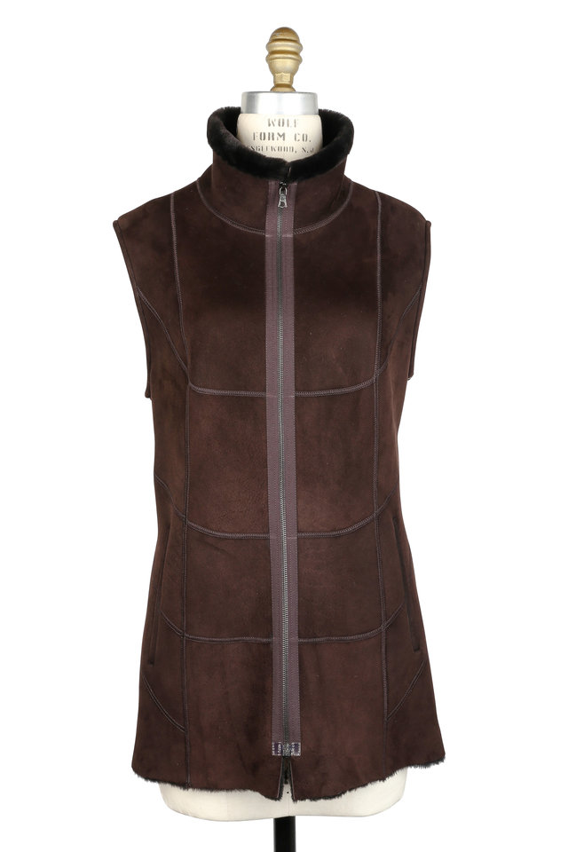 Ebony Brown Shearling High Collar Long Vest
