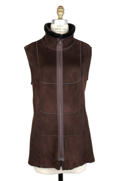 Viktoria Stass - Ebony Brown Shearling High Collar Long Vest