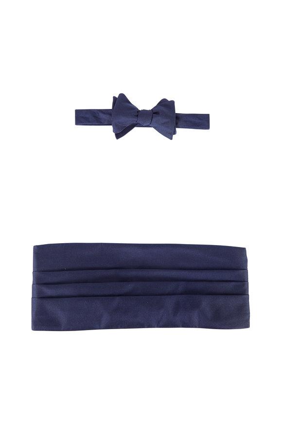 Carrot & Gibbs Solid Navy Blue Silk Faille Cummerbund Set