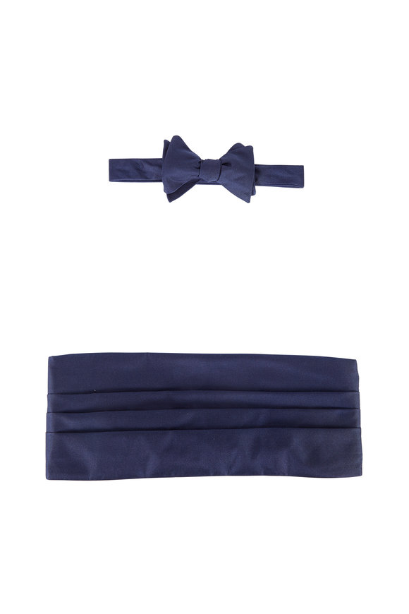 Carrot & Gibbs Solid Navy Blue Silk Faille Cummerbund Set
