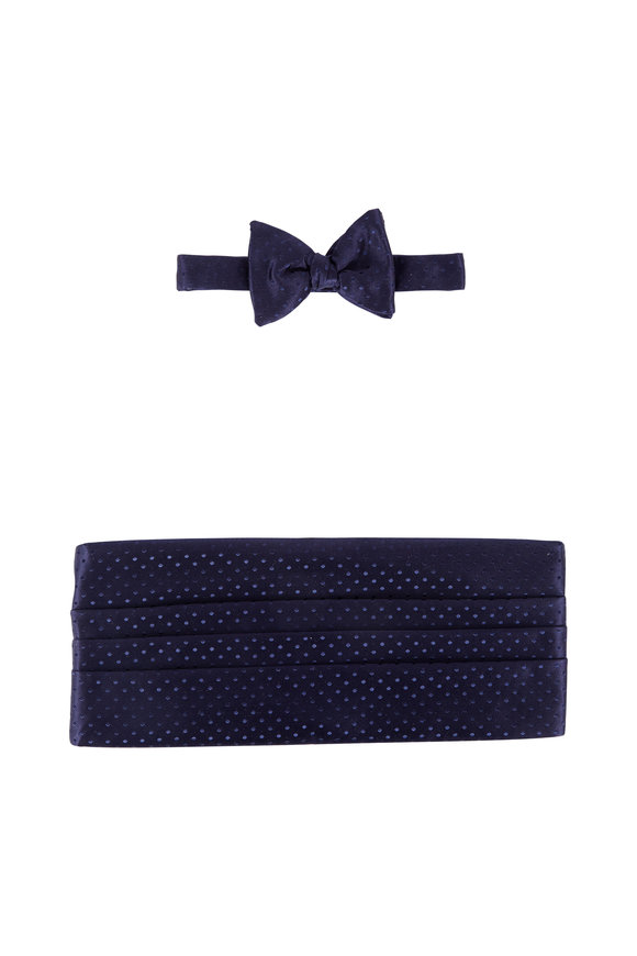 Carrot & Gibbs Navy Blue Tonal Dot Silk Cummerbund set