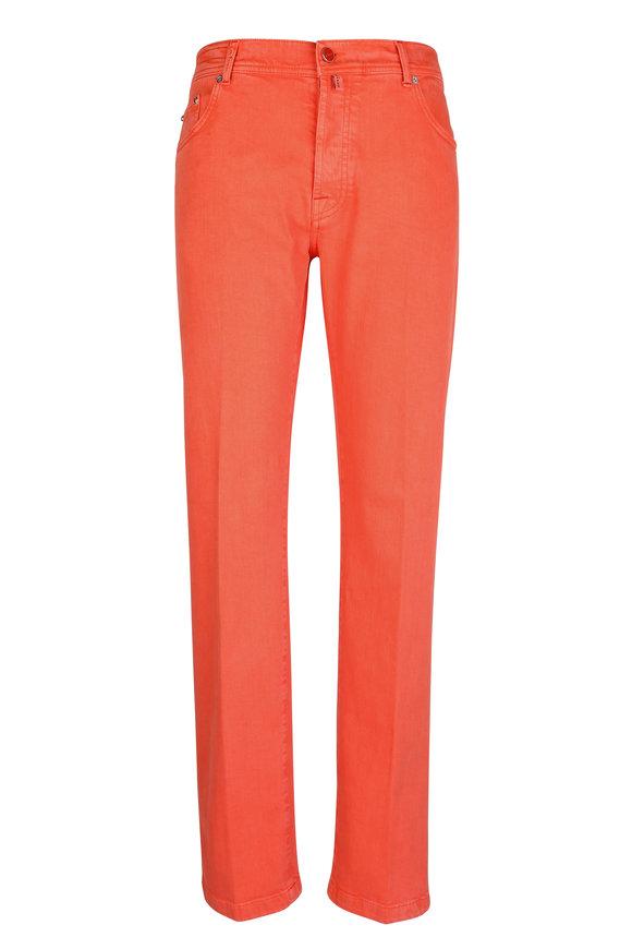 Kiton Orange Stretch Cotton Five Pocket Pant