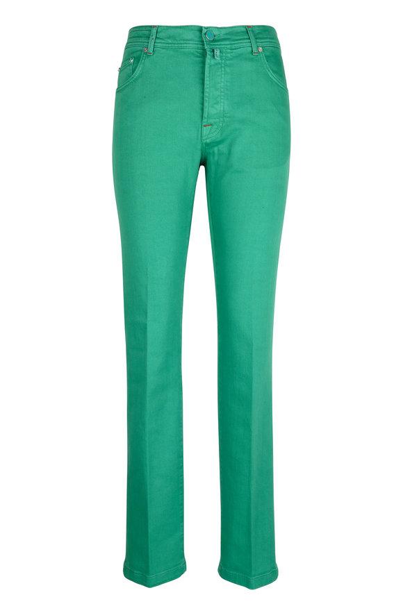 Kiton Green Stretch Cotton Five Pocket Pant