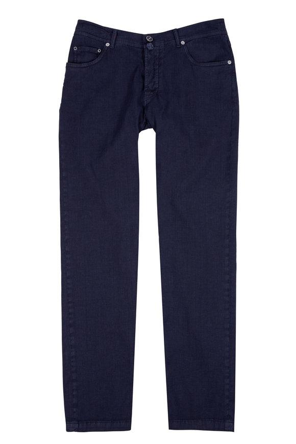 Kiton Slate Linen & Cotton Five Pocket Pant