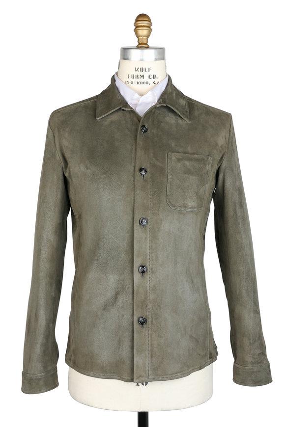 Kiton Olive Green Suede Lambskin Overshirt