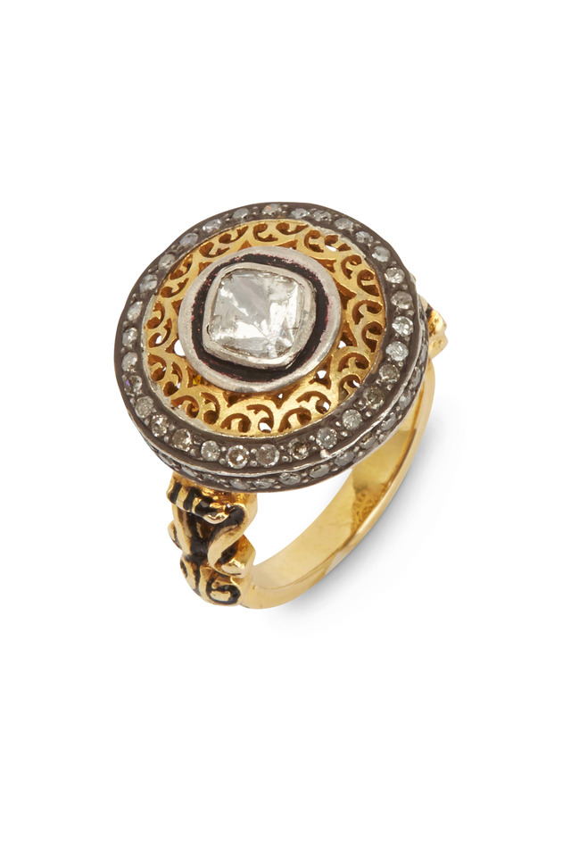 Yellow Gold Round-Cut Diamond Ring