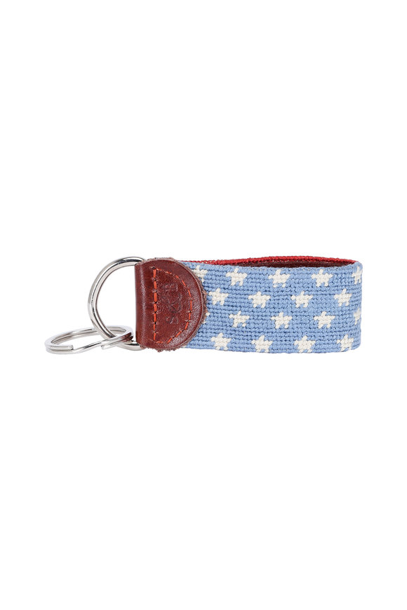 Smathers & Branson Red & Blue Stars & Stripes Needlepoint Key Fob