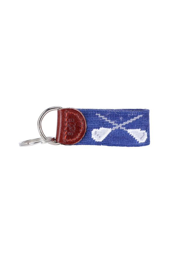 Smathers & Branson Navy Blue Lacrosse Needlepoint Key Fob