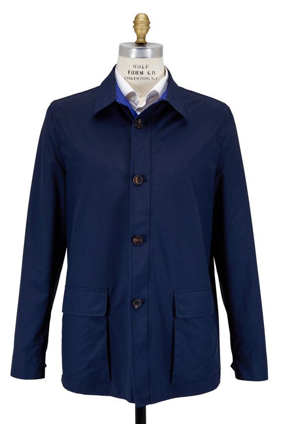 Luciano Barbera Navy & Cobalt Blue Reversible Rain Jacket