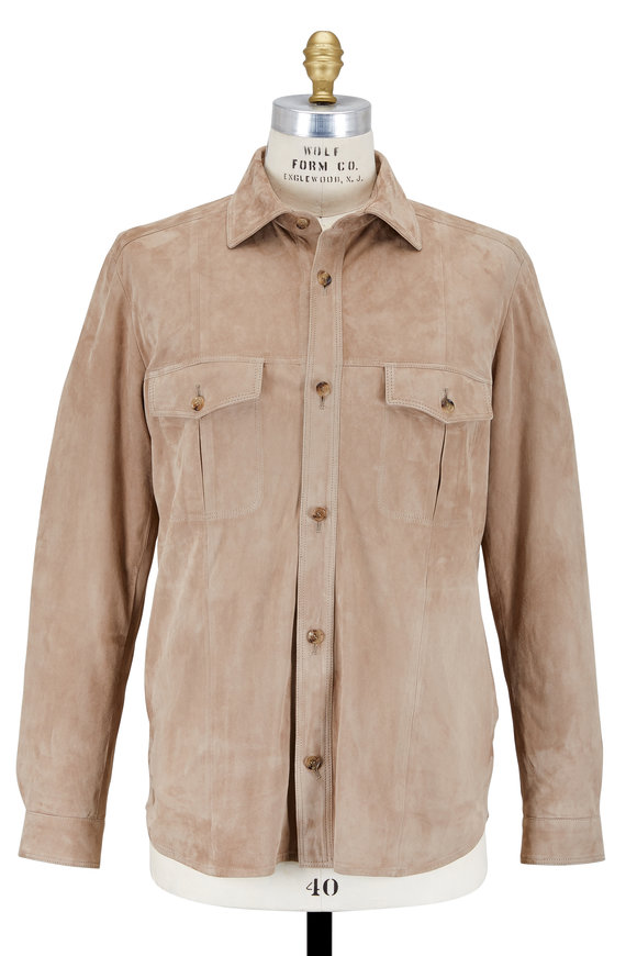 Luciano Barbera Tan Suede Overshirt