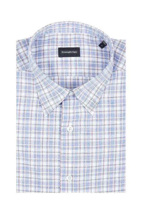 Ermenegildo Zegna Blue & Brown Plaid Classic Fit Sport Shirt
