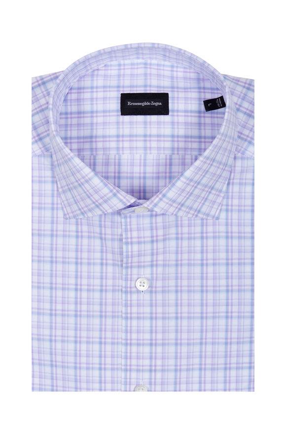 Ermenegildo Zegna Purple & White Check Sport Shirt