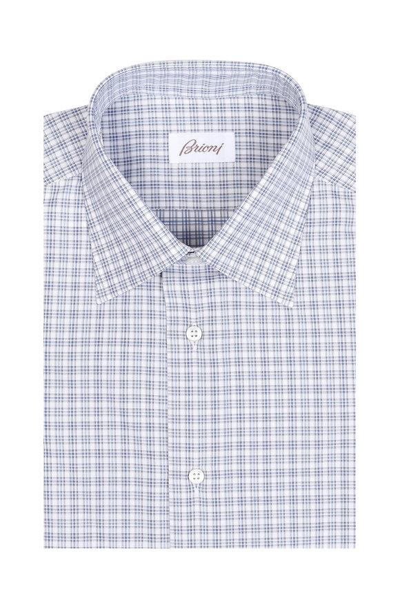 Brioni Light Blue Mini Check Dress Shirt