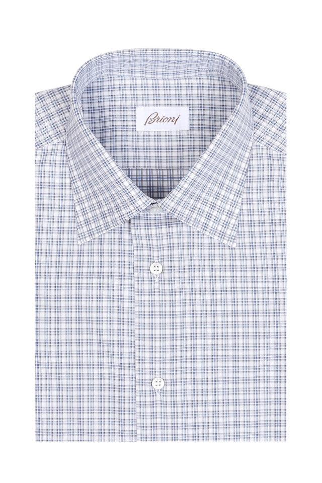 Light Blue Mini Check Dress Shirt