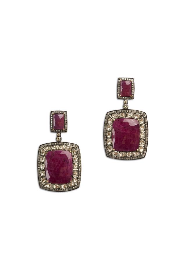 Gold Square Ruby White Diamond Earrings