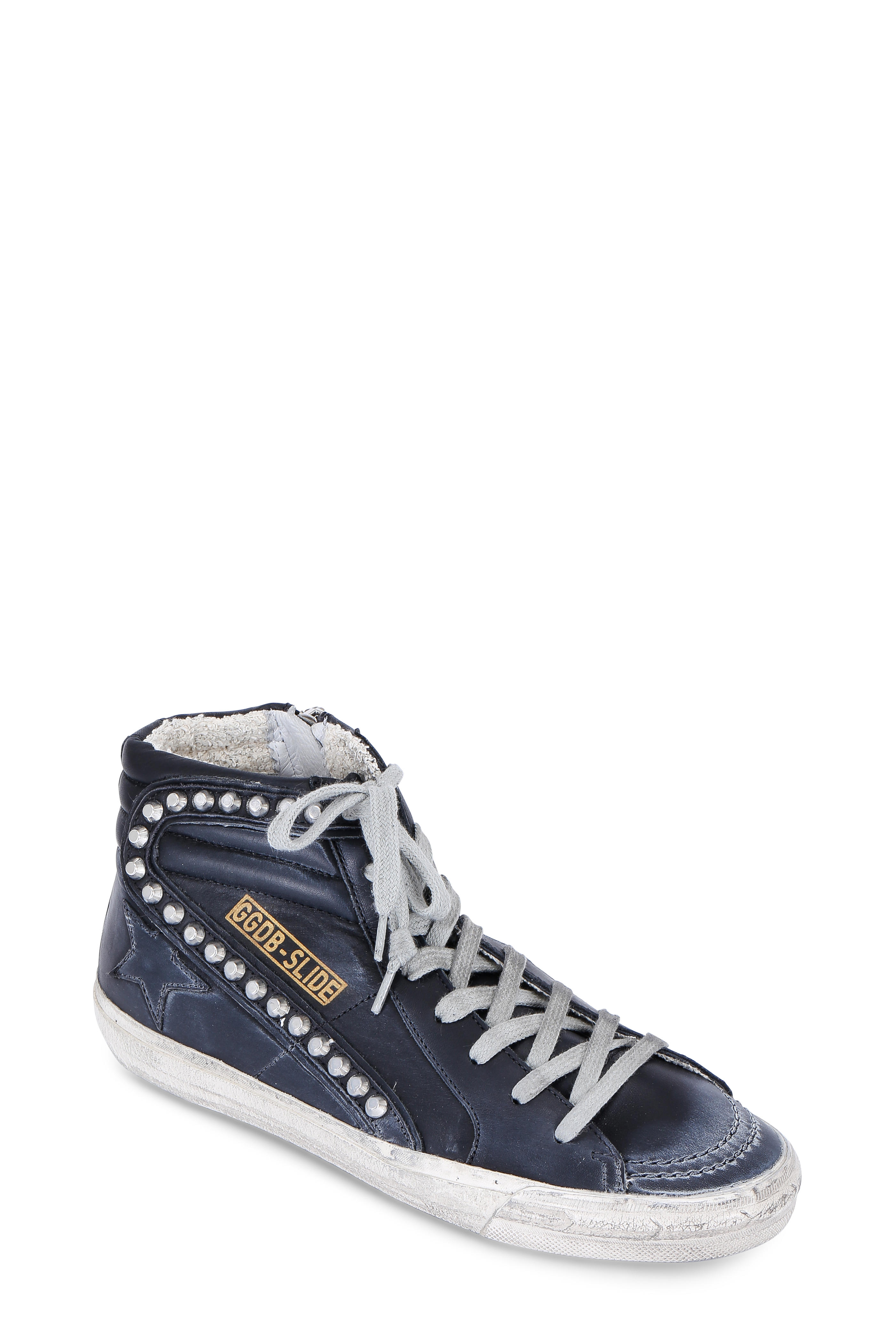 65b6efc2bc00 Golden Goose - Women s Slide Black Leather Stud High Top Sneaker ...