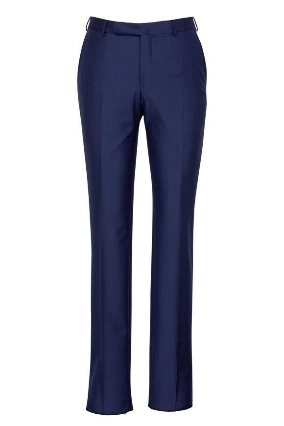 Ermenegildo Zegna Navy Blue Transeasonal Wool Trouser