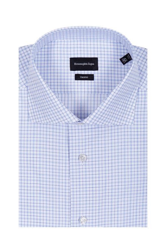 Ermenegildo Zegna Trofeo Blue & White Regular Fit Check Dress Shirt