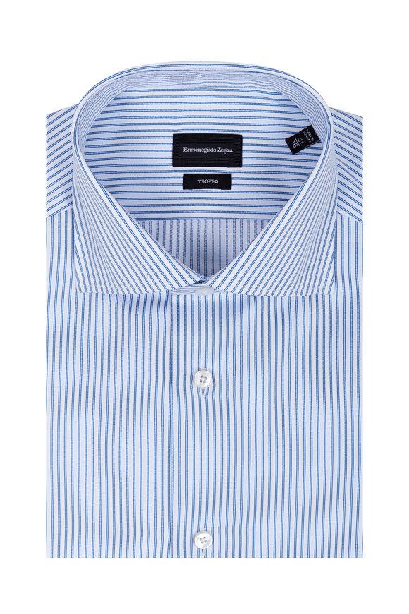 Ermenegildo Zegna Trofeo Blue & White Striped Dress Shirt