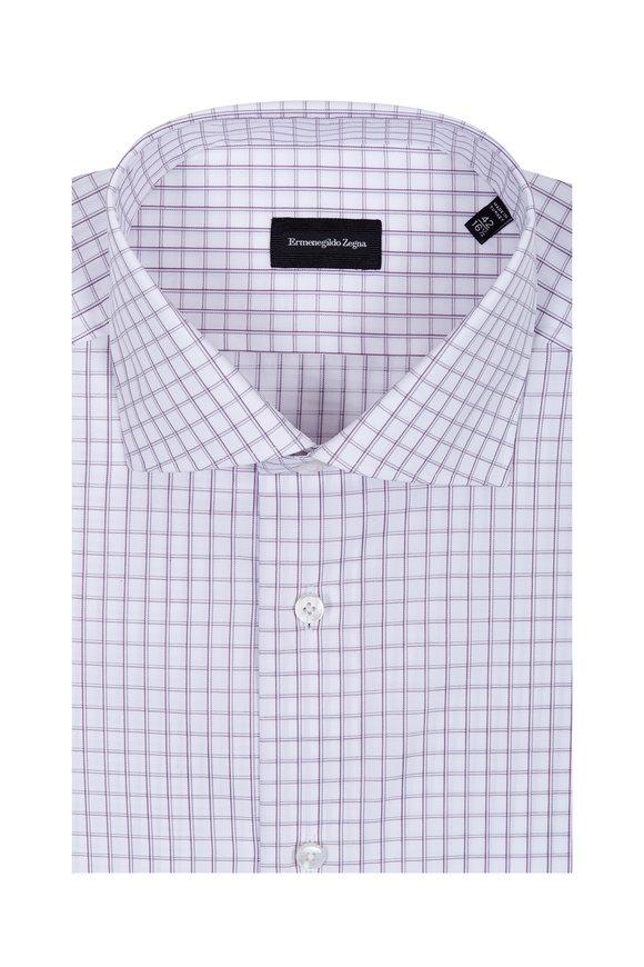 Ermenegildo Zegna Burgundy Windowpane Dress Shirt