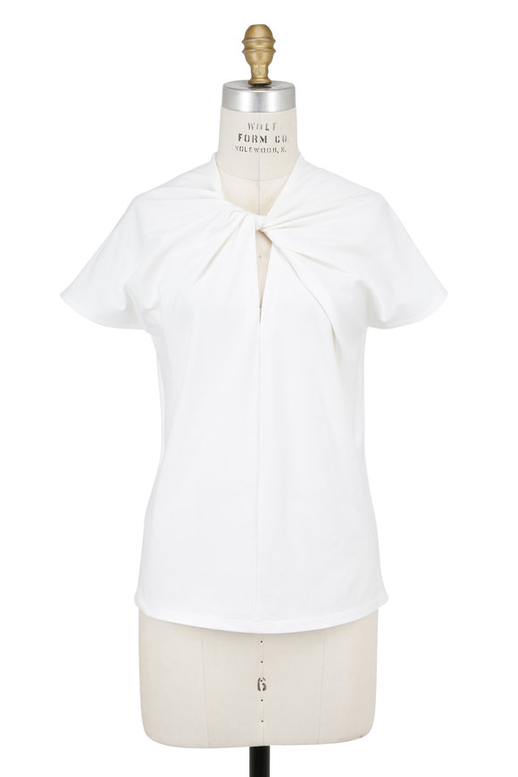 Paule Ka White Twist Neck T-Shirt
