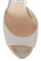Jimmy Choo - Annie Platinum Glitter Ankle Strap Sandal, 85mm