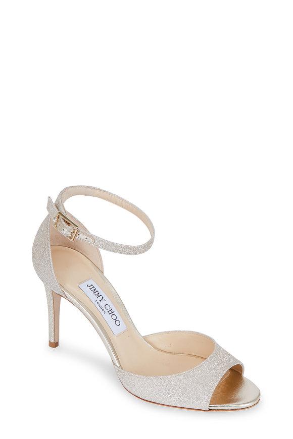 Jimmy Choo Annie Platinum Glitter Ankle Strap Sandal, 85mm