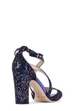 Jimmy Choo - Carrie Petrol Glitter Criss-Cross Sandal, 85mm