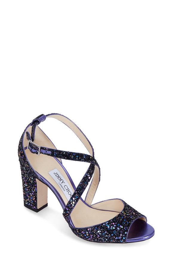 Jimmy Choo Carrie Petrol Glitter Criss-Cross Sandal, 85mm
