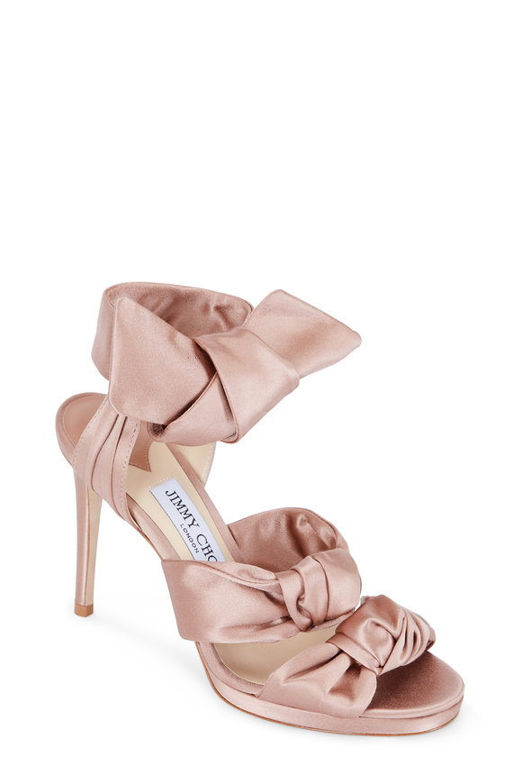 Jimmy Choo Kris Tea Rose Satin Three Knot Sandal, 100mm