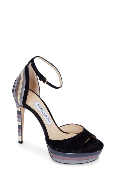 Jimmy Choo - Max Black Suede & Metallic Platform Sandal,120mm