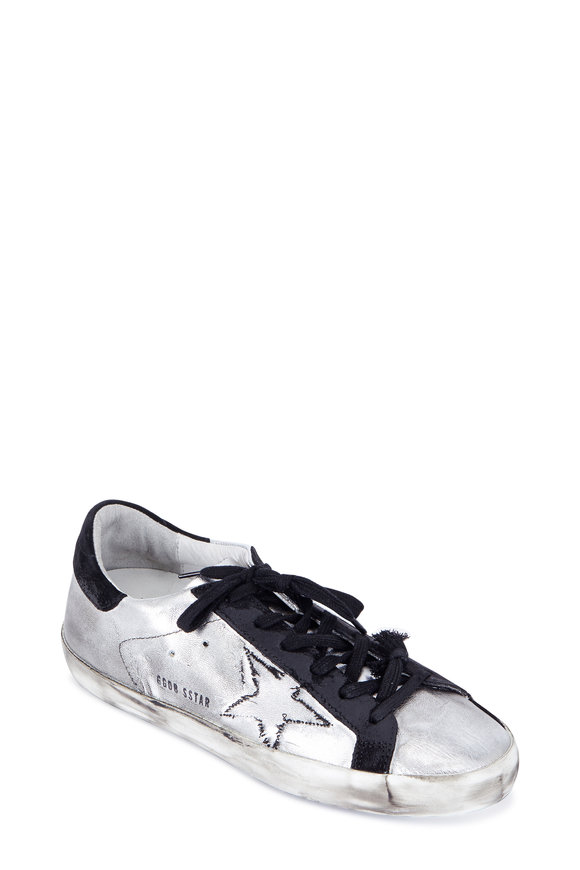 Golden Goose Women's Superstar Silver Leather Low Top Sneaker