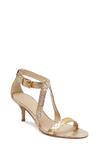 Delman - Tori Gold Leather Anaconda Sandal, 65mm
