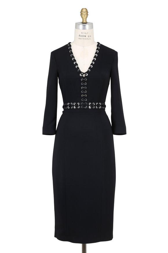 Michael Kors Collection Black Stretch V-Neck Grommet Dress