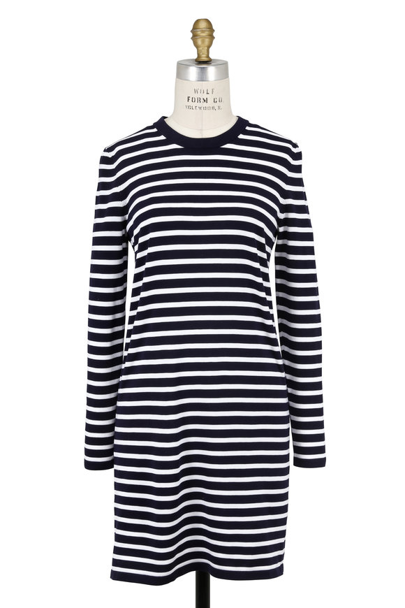 Michael Kors Collection Maritime & White Striped Cotton Long Sleeve Dress