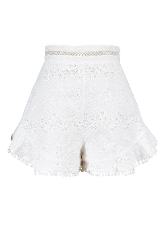 Zimmermann Caravan White Embroidered Cotton Flutter Shorts