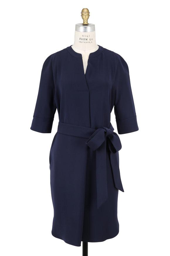 Armani Collezioni Navy Elbow Sleeve Self-Belt Dress