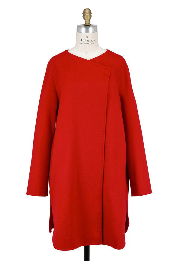 Armani Collezioni Red Wool & Cashmere Concealed Button Coat