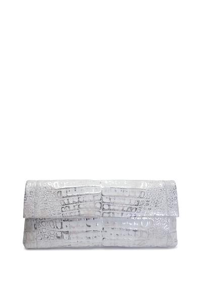 Nancy Gonzalez - East West Flap Crocodile White & Silver Clutch