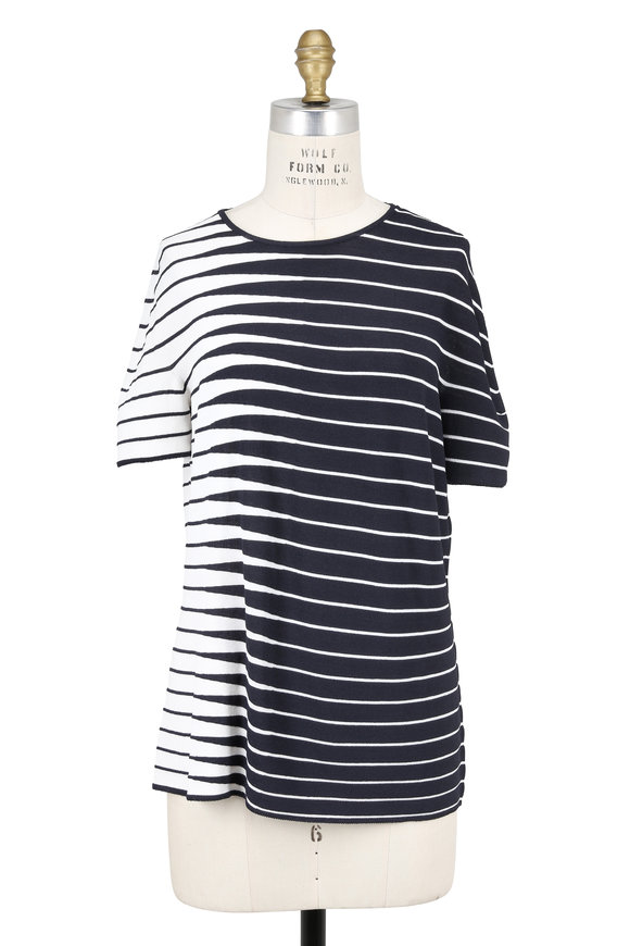 Armani Collezioni Navy & White Alternating Striped Short Sleeve Top