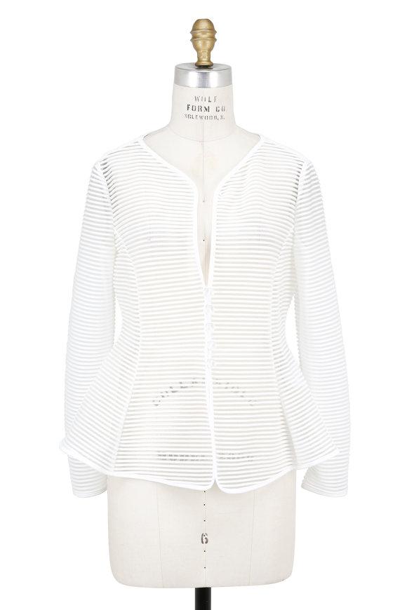 Armani Collezioni White Sheer Ottoman Jacket
